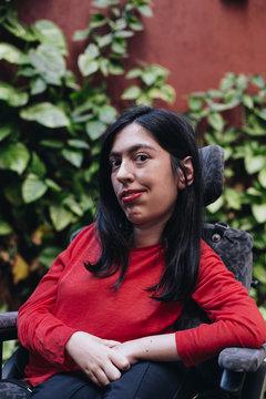 Portrait of woman in wheelchair