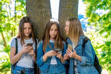 Three girls girlfriends student. In the summer in park by the tree. In the hands of holding smartphones. It is corresponded in social networks. Concept children on the Internet, Relax after school.