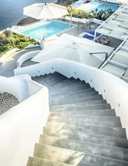 Santorini curly stars and swimming pool, Greece