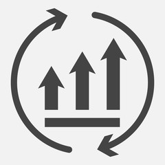 Growth graph with arrows in a circle. Vector business icon schedule