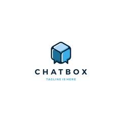 chat box cube social talk bubble vector logo icon template illustration