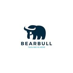bear bull negative space horn logo icon template vector illustration