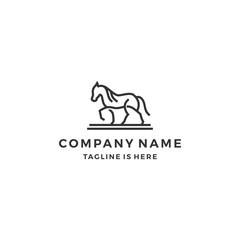 simple monoline outline walking horse line art logo template vector illustration