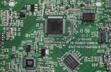 Circuit électronique en gros plan