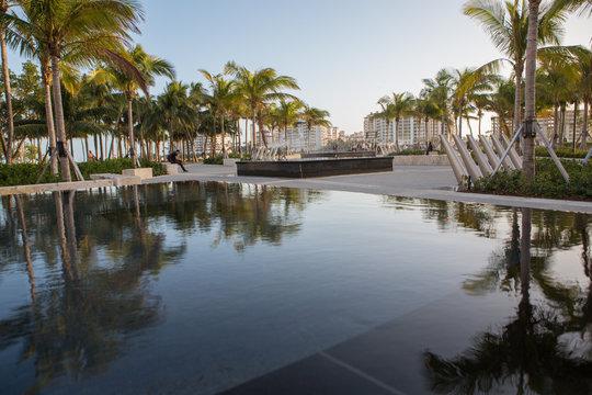 fountain at south pointe park in Miami Beach