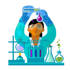 Woman scientist working in the laboratory. Vector