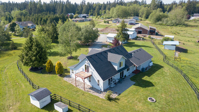 Drone view of single family house