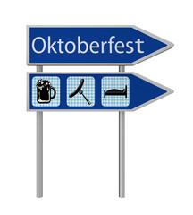 Pfeil-Schild mit den Symbolen Bier, Bratwurst und Bett in blau-weißem karo muster und Pfeil-Schild mit dem Text Oktoberfest in deutsch. 3d render