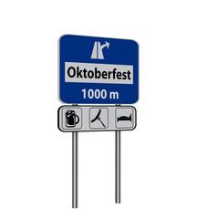 Autobahnschild mit dem Symbol Ausfahrt und dem Text Oktoberfest und den Symbolen Bier, Bratwurst und Bett.  3d render