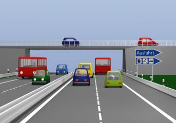Autobahn mit bunten Autos und Ausfahrt Schild.  3d render