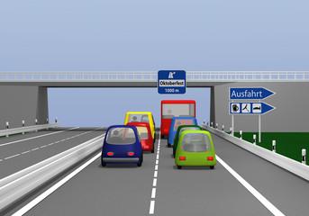 Autobahn mit bunten Autos und Ausfahrt Schild zum Oktoberfest. 3d render