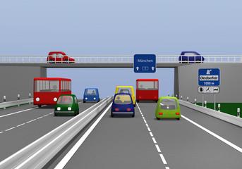 Autobahn mit bunten Autos und Straßenschildern.  3d render
