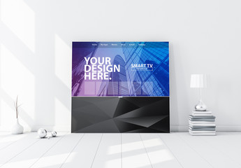 Smart TV on Black Stand in White Room Mockup