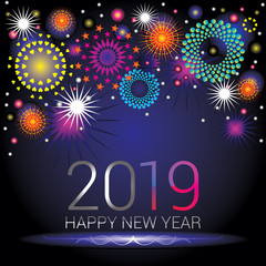 Happy New Year numerals 2019 with colorful fireworks design on an blue black gradient background