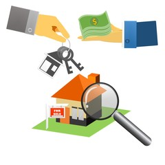 Real estate agent with house model and keys. Hand giving house keys isometric design. Vector illustration flat style. Real estate agent handing holding in palm home and key. Template for sale,
