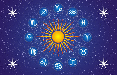 The sun is surrounded by signs of the zodiac against the background of the starry sky. A symbolic picture.