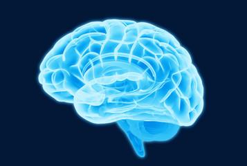 Blue brain scan illustration isolated on dark BG