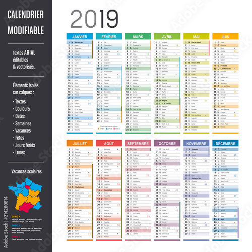 Calendrier 2019 Vectoriel.Calendrier 2019 Modifiable Elements Isoles Sur Calques