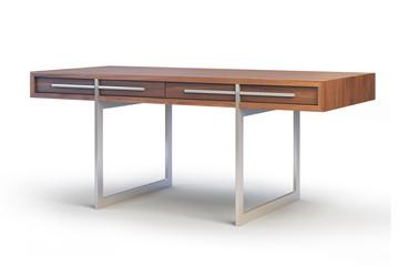 Wooden Desk. 3d render