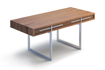 Wooden Desk. 3d render