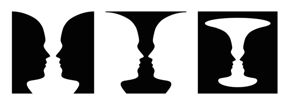 Three times figure-ground perception, face and vase. Figure-ground organization. Perceptual grouping. In Gestalt Psychology known as identifying figure from background. Illustration over white. Vector