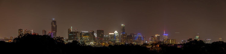 Lighted Up Austin Skyline at Night