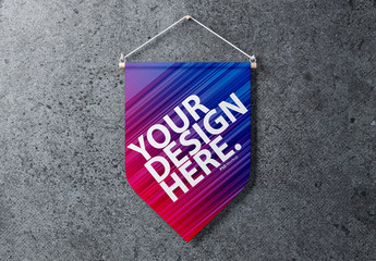 Pennant Hanging on Wall Mockup