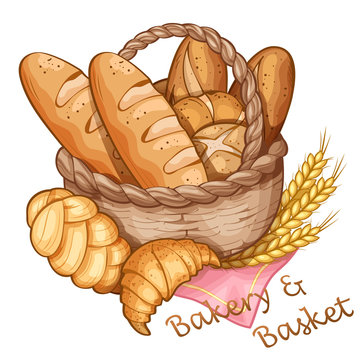 Bakery and basket hand draw, vector illustration