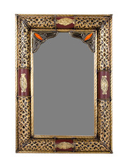 Antique Moroccan gold mirror frame isolated on white background