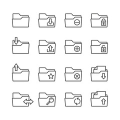 Simple Set of Folders Related Vector Line Icons. Contains such Icons as Repository, Sync, Network Folder and more.