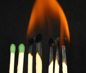 wooden match and flame
