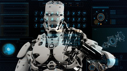 Robot android presses the keys on sci-fi screen. Realistic motion background. 3D Rendering.