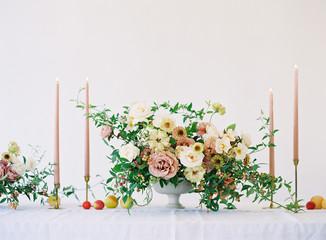 Flower arrangement on wedding table