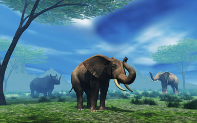 3D landscape with elephants and rhino