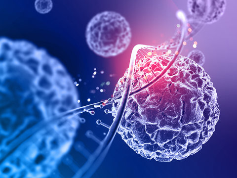 3d medical background with close up of virus cells and DNA strand