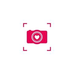 Pink camera love logo.