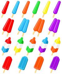 Vector illustration of a variety of frozen treats,