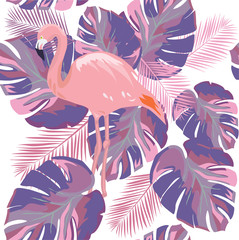Vector Flamingo Leaves