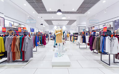 Interior of clothing store.
