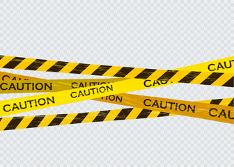 Caution lines isolated. Warning tapes. Danger signs. Wall mural