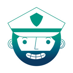 police man in uniform character face character vector illustration gradient design