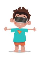 Augmented reality.Little boy.Cartoon style.Vector illustration.