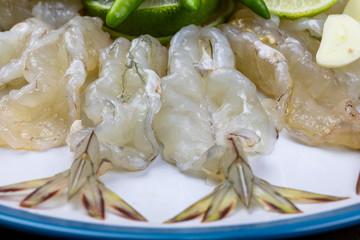 spicy salad shrimp in fish sauce.seafood thailand