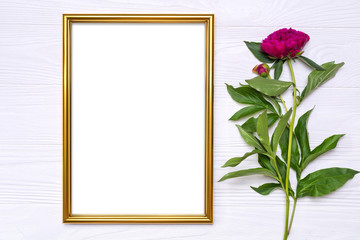 Peony flower and a gold frame on a white wooden background. Mockup for your design.