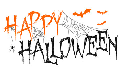 Happy Halloween lettering with spider, web and bats