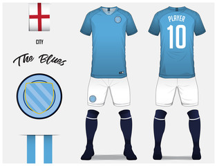 Soccer jersey or football kit template for football club. Blue football  shirt with sock and c78ae5ff9