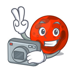 Photographer mars planet mascot cartoon