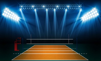 Volleyball court arena field with bright stadium lights design. Vector illumination