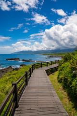 Hiking path on a tropical island in Sanxiantai, Taidong, Taiwan