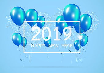 Happy new year 2019 with creative blue balloon concept on pastel blue background. minimal concept. Vector Illustration